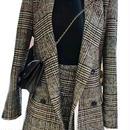 レディース グレー チェック 柄 ジャケット スカート スーツ セット アップ ワンピース ドレス