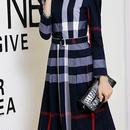 海外インポートネイビータータンチェックベルト付シャツワンピースドレス長袖紺色