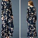 海外 インポート ネイビー フラワー ノーカラー マキシ ワンピース パーティー ドレス ロング 花柄