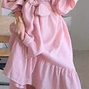 レディース 海外 インポート ベビー ピンク フリル オフショルダー 腰ひも ベルト 付き ワンピース ドレス