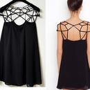 海外インポートセレクトブラックデザインワンピースドレス黒色