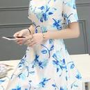 海外インポートセレクトホワイトブルーフラワーフェミニンワンピースパーティードレス花柄