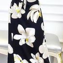 レディース フラワー 柄 カシュクール ラップ 腰ひも ベルト 付き マキシ ワンピース ドレス ロング 丈
