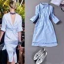 海外インポートセレクトブルーシャツストライプデザインワンピースドレス背中あき