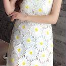 海外インポートホワイトイエローコットンフラワーデザインワンピースパーティードレス白黄色