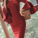レディース 海外 インポート レッド フレア スリーブ オフショルダー デザイン ワンピース ドレス 赤