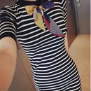 海外インポートボーダーニットスカーフ付きワンピースドレス大人かわいい