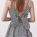 レディース 海外 インポート ブラック ホワイト コットン ギンガム チェック 柄 背中 あき ワンピース ドレス
