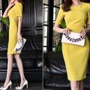 レディース 海外 インポート イエロー 袖 付き コンサバ ワンピース ドレス 黄色