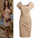 海外インポートセレクトキャサリン妃着用デザインワンピースドレス サテンベージュブラック