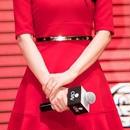 海外インポートレッドフレアーゴールドプレートベルト付ワンピースパーティードレス赤色