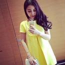 海外インポートセレクトイエローリボンプリーツワンピースドレス黄色