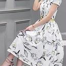海外インポートホワイトグレーイエローフラワーベルト付ミディミモレ丈ワンピースパーティードレス花柄