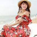 海外インポートブラック×レッドフラワーフリルシフォンマキシワンピースドレス