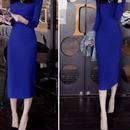 海外インポートロイヤルブルータイトミディミモレ丈ワンピースパーティードレス青色長袖