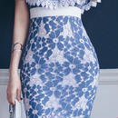 レディース 海外 インポート ブルー ホワイト フラワー レース オフショル ワンピース ドレス 花柄