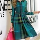 海外インポートグリーンタータンチェックベルト付シャツワンピースドレス長袖緑色