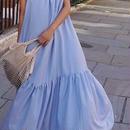 レディース 海外 インポート ブルー コットン フリル ざっくり マキシ ワンピース ドレス ロング 丈