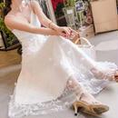 レディース 海外 インポート ホワイト フラワー オーガンジー キャミソール マキシ ワンピース ドレス ロング 白