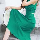 レディース 海外 インポート グリーン カラー フレア 背中 あき マキシ ワンピース ドレス ロング 緑