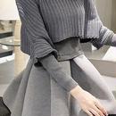 海外 インポート グレー ニット フレア スカート ポンチョ セーター 付 セットアップ ワンピース 長袖
