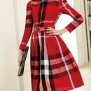 海外インポートレッドタータンチェックベルト付シャツワンピースドレス長袖赤色