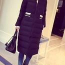 海外 インポート ブラック スポーティー ライン デザイン ダウン ジャケット コート ロング 丈 黒色