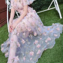レディース 海外 インポート ピンク フラワー コサージュ 付き オーガンジー シースルー マキシ ワンピース ドレス ロング