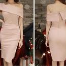 レディース 海外 インポート ピンク ベージュ ワンショルダー タイト ワンピース ドレス
