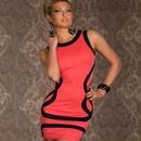 海外インポートセレクトピンク×ブラックバイカラーデザインセクシーミニワンピースドレス
