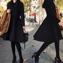 海外 インポート ブラック フレアー ドレス コート アウター 黒