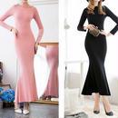 海外インポートセレクトブラックフラワーデザイン付マーメイドスカートワンピースドレス黒色