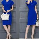海外インポートロイヤルブルーデザインシンプルワンピースパーティードレス青色