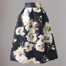 レディース ブラック ホワイト フラワー ミモレ ひざ 下 丈 スカート 花柄