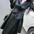 レディース ブラック サテン カシュクール フレア ミモレ ウエスト ベルト 付き ワンピース ドレス 黒
