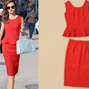 海外インポートセレクトレッドぺプラムデザインセットアップワンピースドレス赤色
