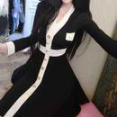 レディース ブラック ホワイト バイカラー フレア ワンピース ドレス ミニ 長袖 黒 白