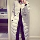 海外 インポート グレー スポーティー ライン デザイン ダウン ジャケット コート ロング 丈