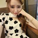 海外インポートセレクト韓国ブランドフラワーホワイトワンピースドレスバイカラー