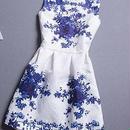 海外インポートホワイト×ブルーフラワータンクワンピースドレス白