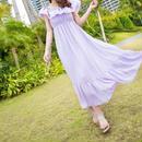 海外インポートパープルラベンダーシフォンフリルマキシワンピースドレス