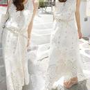 レディース ホワイト コットン ベルト 付き マキシ ワンピース ドレス ロング 白