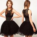 海外インポートセレクトブラック総レースデザインインナーチュール付ワンピースドレス黒