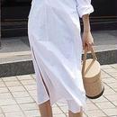 レディース 海外 インポート ホワイト シャツ カシュクール デザイン ロング 丈 ワンピース ドレス 白
