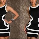 海外インポートセレクトブラック×ホワイトラインセクシーミニワンピースドレス黒