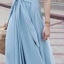 レディース 海外 インポート パステル ブルー カラー ドレープ コットン マキシ ワンピース ドレス ロング