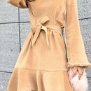 レディース ベージュ ベロア 袖 ファー 腰ひも ベルト 付き ワンピース ドレス