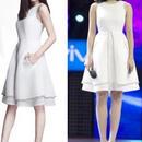 海外インポートホワイトゴールドシフォンワンピースドレス白色