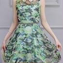 海外インポートセレクトカモフラージュ柄オーガンジーチュールシースルー襟付きデザインワンピースドレス