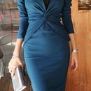 海外インポートブルーカシュクールデザインタイトミディミモレ丈ワンピースドレス